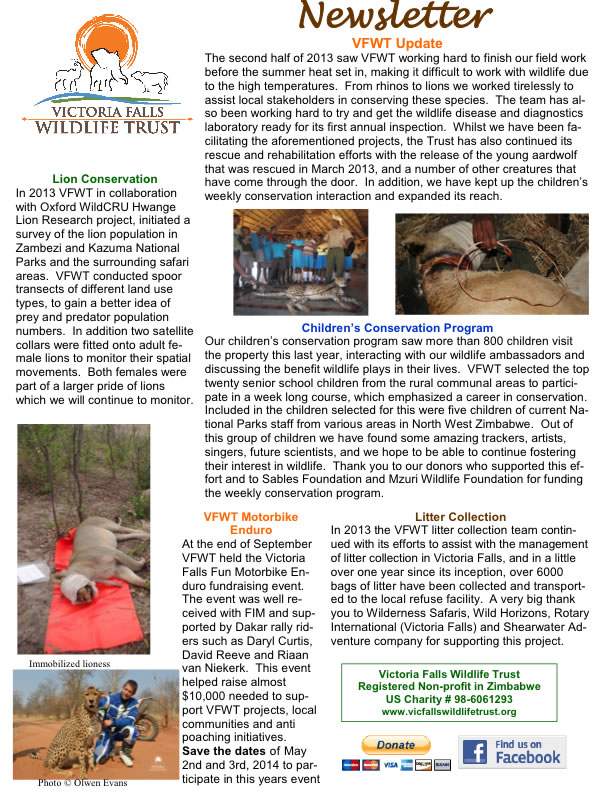 VFWT Newsletter Jan. 2014